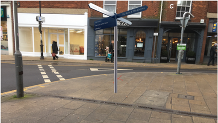 One of the proposed finger-posts, which the aboutDereham partnership hopes to locate at the top of Church Street, subject...