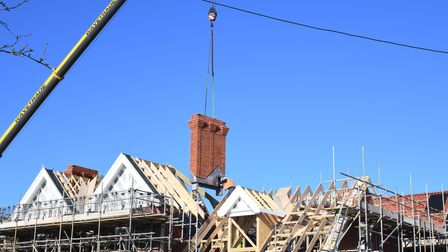 The replica chimneys have been placed on the former hospital in Southwold