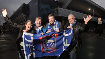 Sandra Cunningham, Mark Ramsay, Martin Swallow and Colin Kriedewold are thrilled with Ipswich Town's