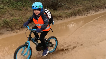 Bawdsey Primary School pupil Ashton cycled through all terrains to raise money for East Anglia's Children's Hospice (EACH)