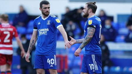 Troy Parrott congratulates James Norwood after he had scored Towns second to take them 2-0 up.