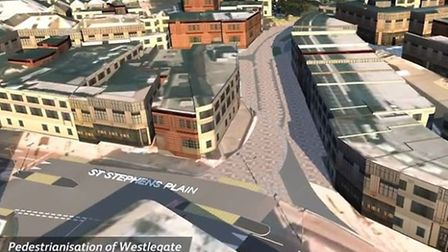 The helicopter tour of Norwich city centre as it could be in the near future. Picture: Norfolk Count