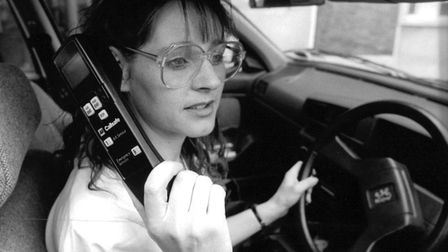 Susan Ellwood tries the Cellsafe cellular phone