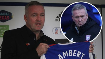 Paul Lambert's first picture as Ipswich Town manager (left) and his last (inset)