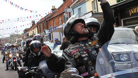 A Harley owner snapping a 'selfie' during Saturday's motorcyle rally : KAREN BETHELL