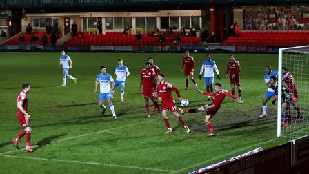 Accrington Stanley's Joe Pritchard clears the ball during the Sky Bet League One match at The Wham S