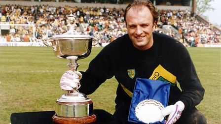 Bryan Gunn after winning City's player of the year award at Carrow Road in May 1988.