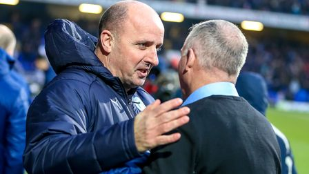 Managers Paul Cook and Paul Lambert talk ahead of the game. Picture: STEVE WALLER WWW.STEPHEN
