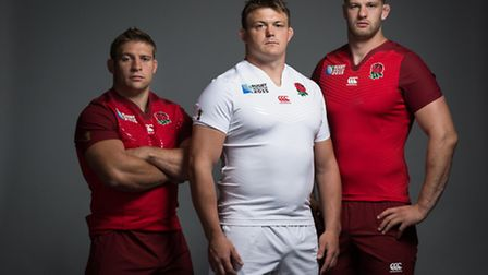 Tom Youngs, left, unveiling England's kit for the 2015 World Cup alongside David Wilson and George K