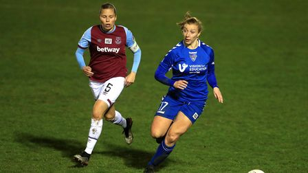 West Ham United's Gilly Flaherty (left) and Durham's Emily Roberts battle for the ball during the FA