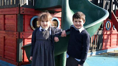 Imogen and Archie. St Mary's Primary school in Woodbridge are fundraising for a new play area Pictu