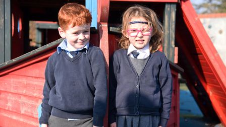 Fynn and Edith. St Mary's Primary school in Woodbridge are fundraising for a new play area Picture: