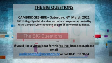 Join virtual audience of BBC debate show The Big Questions this Saturday (March 6)