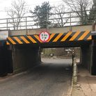 The newly installed collision beams at Coddenham Road Bridge in Needham Market, which has been named'Suffolk's most bashed bridge'.