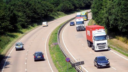 The A14 at Haughley