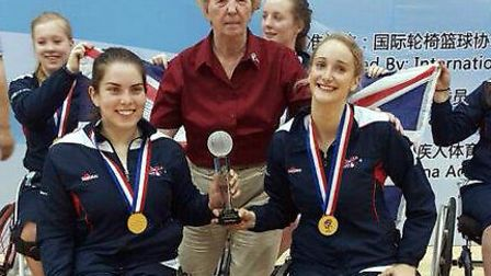 Norwich's Amy Conroy (right) on top of the podium after Great Britain won the World Under-25 Wheelch