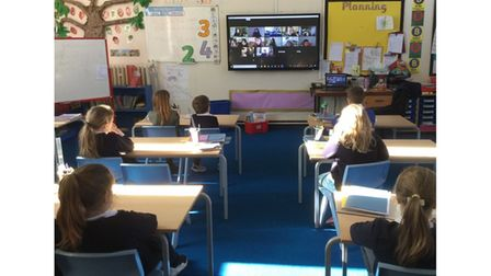 Pupils at Tollgate Primary School in Bury St Edmunds listening to Amy Douglas' storytelling session