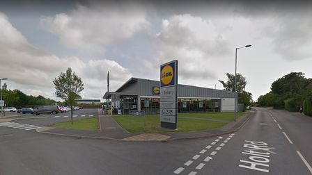 Lidl sign and outside the supermarket