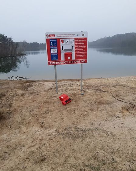 Vandals have damaged life-saving equipment at Bawsey Country Park.