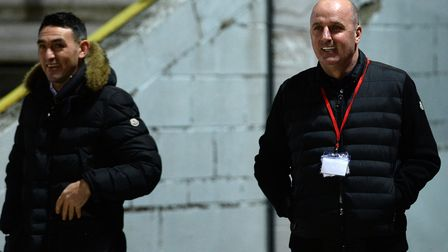 New Ipswich Town Manager Paul Cook with Gary Roberts at Accrington Stanley on Tuesday night