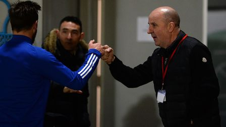 Fist bumps all round : New Ipswich Town Manager Paul Cook with Gary Roberts at Accrington Stanley on