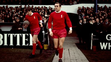File photo dated 18-01-1969 of Liverpool's Emlyn Hughes (l) and Ian St John (r). Issue date: Tuesda