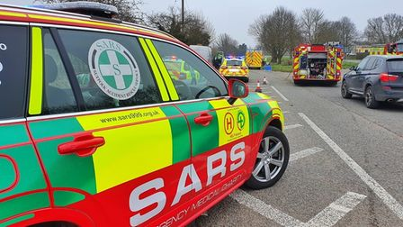 The vehicles collided on the B1113 near Stowmarket