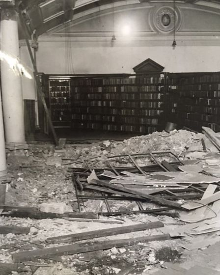 Wrecked Bethnal Green library when it was bombed during the Blitz in Kate Thompson's book on its history