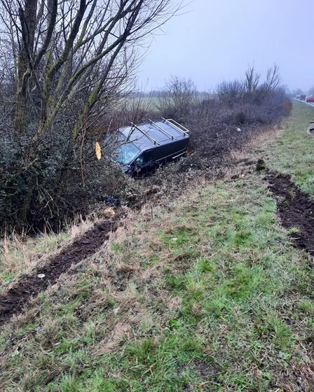 Shockingly there were only minor injuries after this crash on the A10 at Ely this morning (March 4).