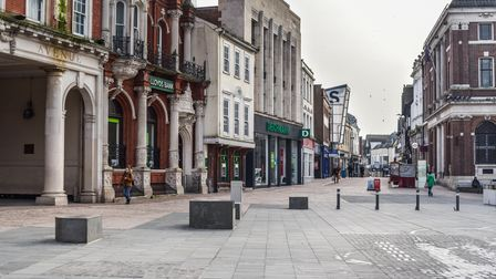 The Cornhill in Ipswich during the third national lockdown