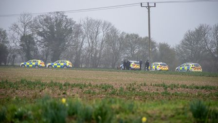 Police officers at the scene of the incident in Leiston