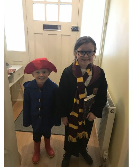 Lucy-rose aged eight and Max aged five, from Ipswich, in World Book Day costumes