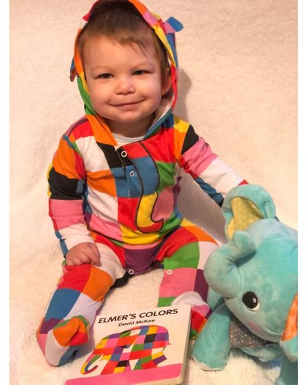 Oliver, aged 11 months, as Elmer the Elephant