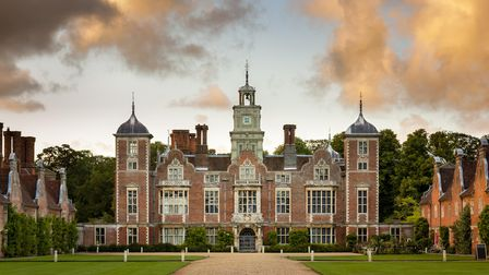 The South Front at Blickling Estate, Norfolk. Blickling is a turreted red-brick Jacobean mansion, si