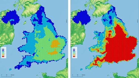 A side by side comparison of National Trust maps showing how the country is expected to be affected by heat and humidity...