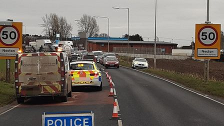 The eastbound lane of the A47 at Necton, between Dereham and Swaffham, has been closed due to a damaged manhole cover.
