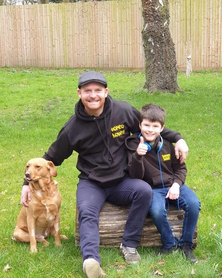 Gareth Harper, known as DJ Garfie, with stepson Finley, who is also known as DJ Dares.