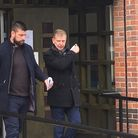 Sam Sexton, left, leaving Norwich Magistrates Court with his solicitor Ian Fisher, right.