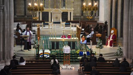 The funeral of nurse Estrella Catalan at St John's RC Cathedral. Picture: DENISE BRADLEY