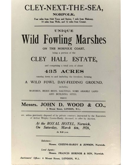 A 1926 bill of saleposter for Cley Marshes
