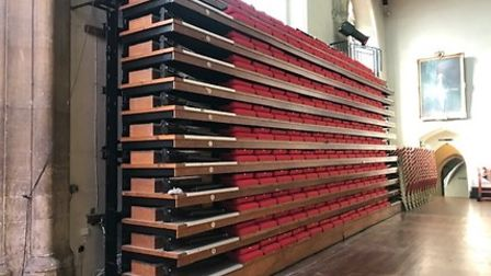 Retractable seats in St Andrew's Hall in Norwich