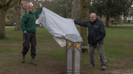 The new collection box being unveiled in the Abbey Gardens