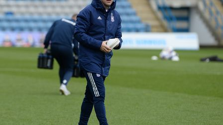 Gary Roberts during the warm-up at Gillingham