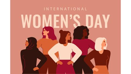 International Women's Day card with Five strong girls of different cultures and ethnicities stand to