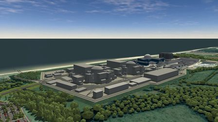 A CGI showing how the new twin reactor Sizewell C would look