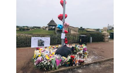 The memorial to Domantas Baksaitisat the lamppost where he died after a motorbike crash in Great Yarmouth.