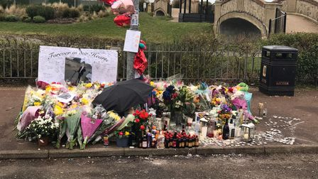 The memorial to Domantas Baksaitisat the lamppost where he died after a motorbike crash in Great Yarmouth. Picture...