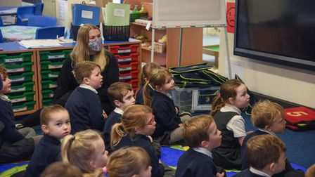Reception pupils from Thomas Bullock CE Primary Academy in class on their first day back to school.