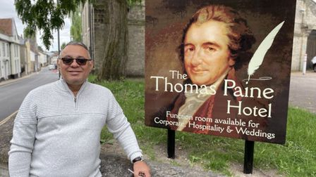 Gez Chetal, owner of The Thomas Paine Hotel, in Thetford.