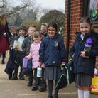 Reception pupils from Thomas Bullock CE Primary Academy waiting outside on their first day back to s